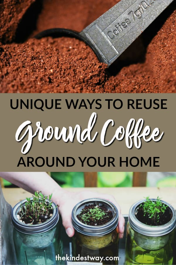 Ways to recycle coffee grounds around the home. From the garden, to your skin, there are so many uses for used coffee grounds - try a few today! #coffee #coffeegrounds #zerowaste #gardening