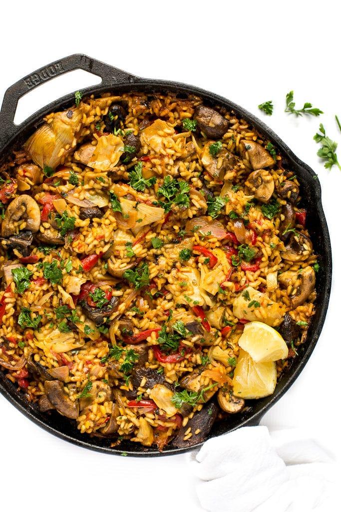 Gluten free mushroom paella recipe