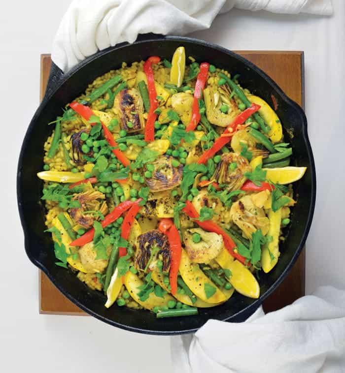 Slow cooker paella vegan recipe